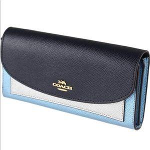 Coach Womens Metallic Leather Slim Envelope Wallet